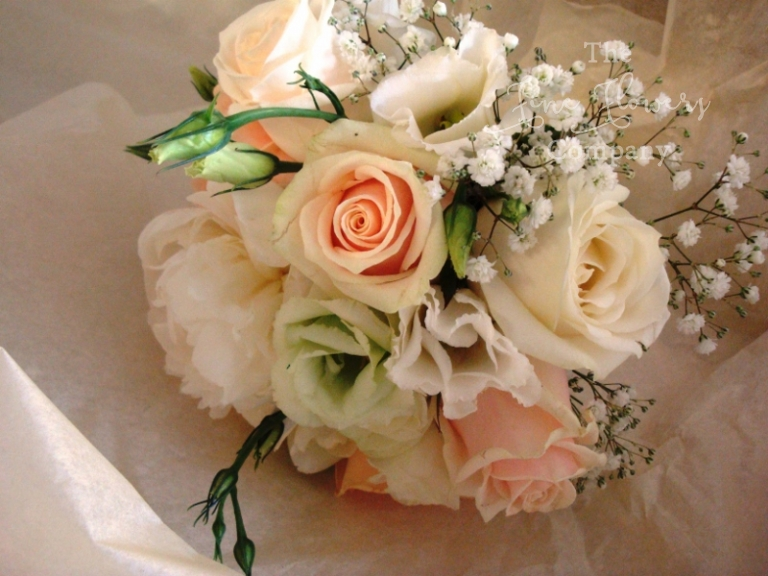 flower girls posy from gypsophila wedding flowers