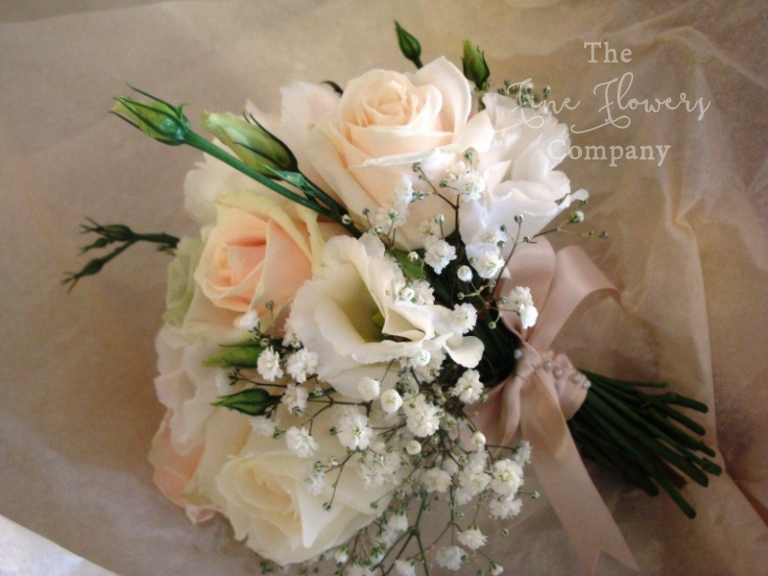 gypsophila wedding flowers - flower girls posy with peach roses, gypsophila and lisianthus
