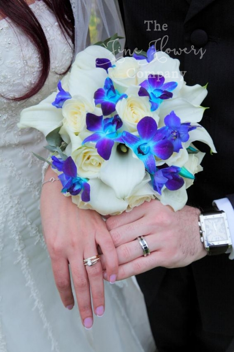 ivory and electric blue wedding flowers - bridal bouquet of roses, Crystal Blush calla lilies and electric blue singapore orchids