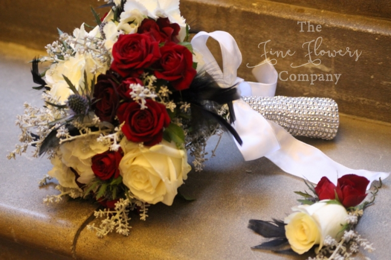 diamante bridal bouquet with winter flowers