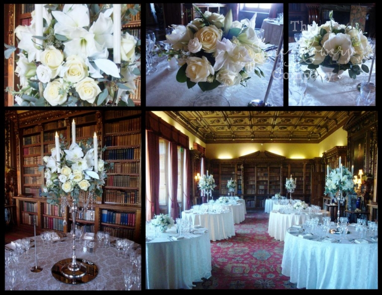 winter wonderland wedding flowers at Highclere Castle