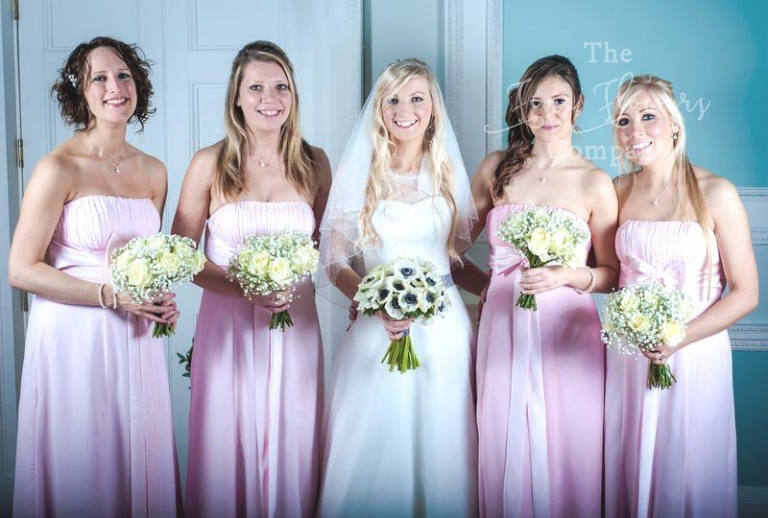 Botleys Mansion wedding flowers bridal and bridesmaids bouquets