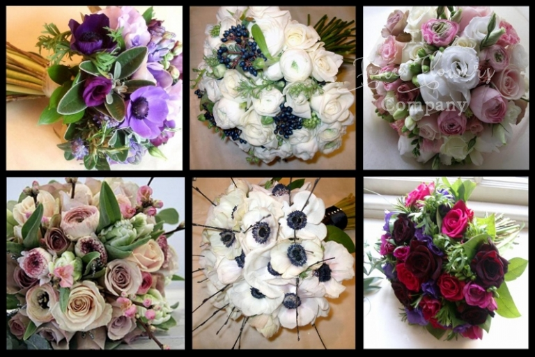 spring wedding flowers bouquets of anemones and ranunculus