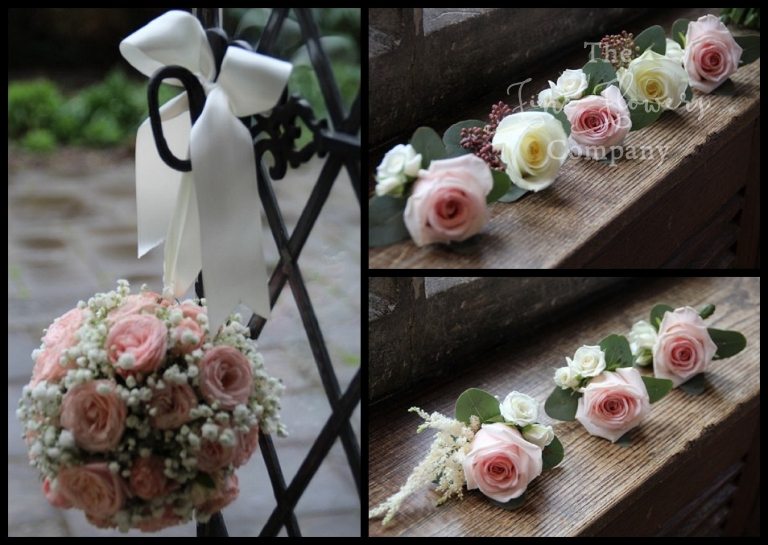 flower girls pomander of gypsophila and spray roses, ivory and blush buttonholes.