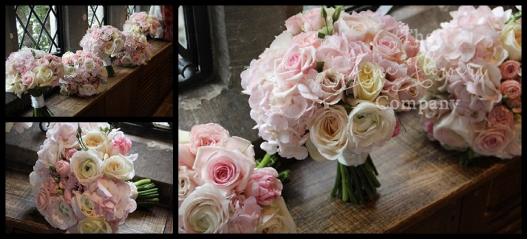 ivory and blush bridesmaids bouquets of roses, ranunculus, hydrangeas. Surrey wedding florist. Surrey bridal flowers