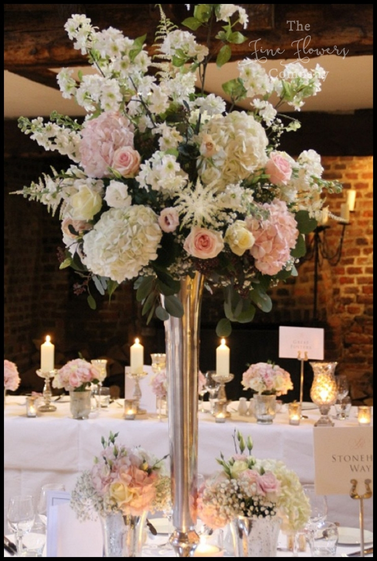 Great fosters wedding flowers blush silver spring wedding c tall fluted silver vase centrepiece with blush flowers reviewsmspy