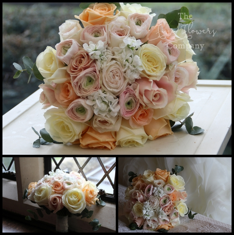 Peach And Blush Bridal Bouquet Flowers Surrey Wedding Florist