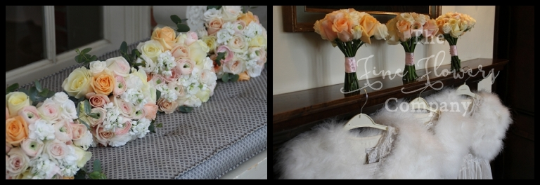 bridesmaids posies of ivory and pale blush and pale peach roses, ranunculus, scented stocks.