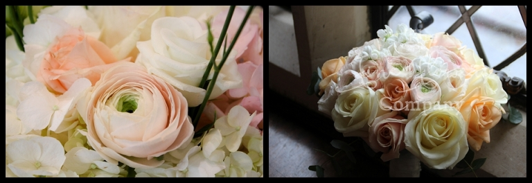 ivory, pale blush and pale peach bridal bouquet surrey wedding. roses ranunculusa and stocks.