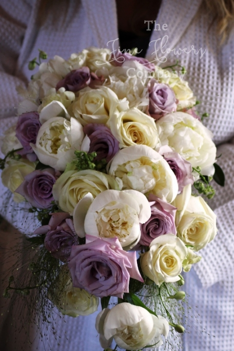 Great Fosters bridal bouquet, tear drop bouquet, ivory and lilac bridal flowers