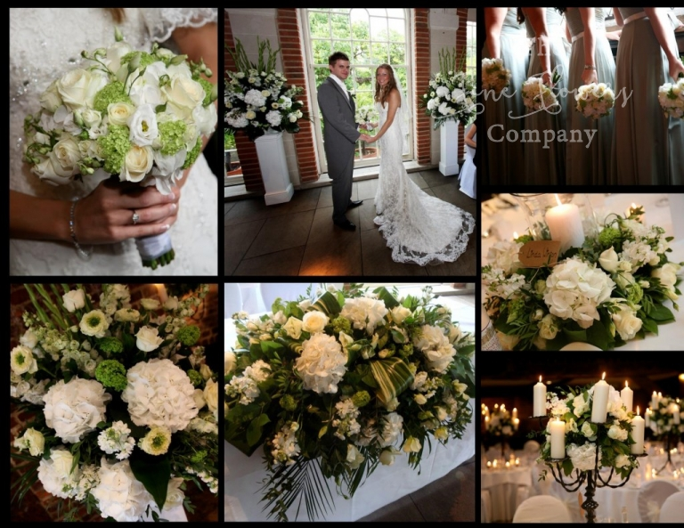 great fosters wedding flowers - ivory & green, Orangery ceremony, Tithe Barn reception