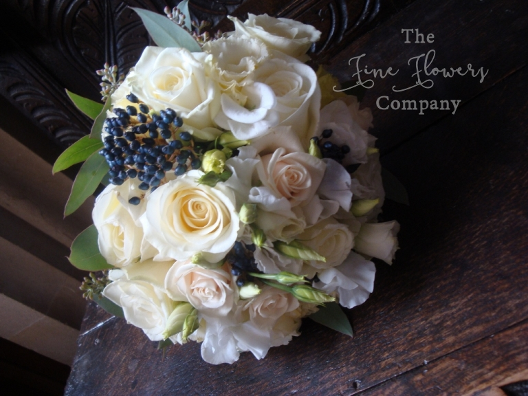 bridesmaids bouquet in ivory and navy, from Highclere Castle wedding in Berkshire, Berkshire florist