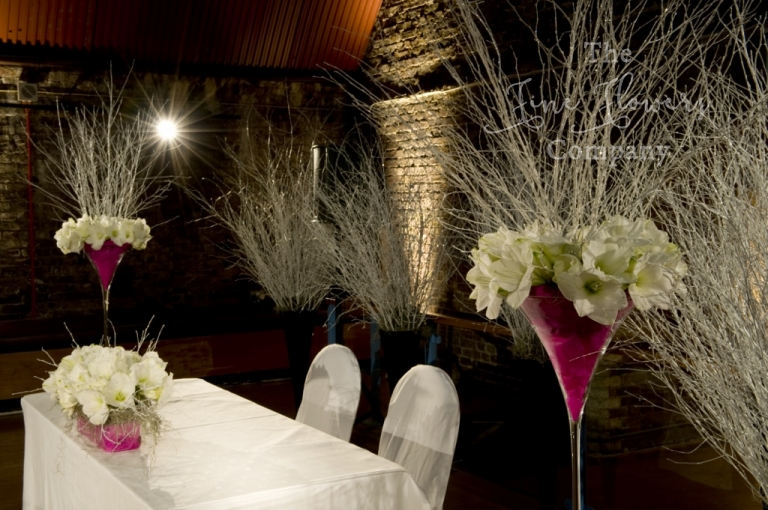 ceremony room flowers at Vinopolis, from winter wonderland wedding