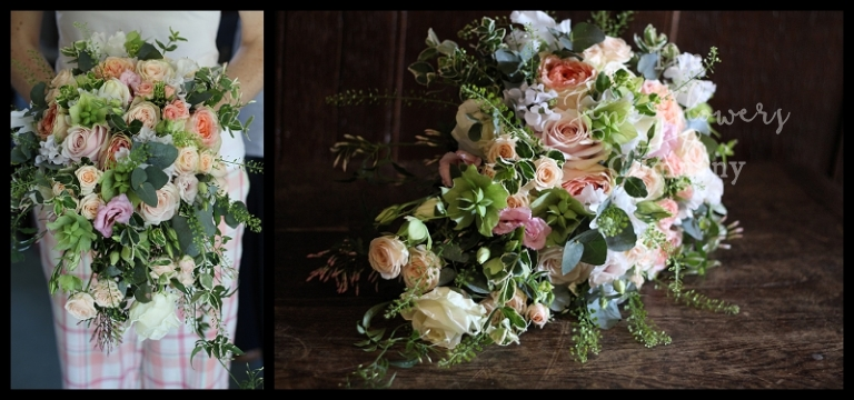 wild trailing bridal shower bouquet, with just picked look, with ivory, blush, peachy coral roses, spray roses, lisianthus, Vuvuzuella roses, trailing jasmine, thlaspi green bell grasses and variegated foliage. From wedding reception at Great Fosters in Surrey.