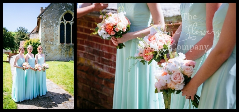 pale sage green bridesmaids dresses with summer blush, pale coral bouquets.