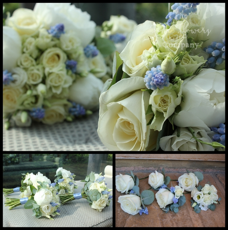 ivory white and pale blue wedding bridal flowers boquuets and buttonholes.