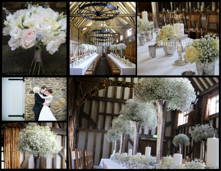 gypsophila wedding flowers centrepieces, gypsophila wedding centrepieces, winter wonderland gypsophila wedding flowers, gypsophila wedding ideas, tall gypsophila vases, silver & white wedding flowers. Gate street barn wedding flowers