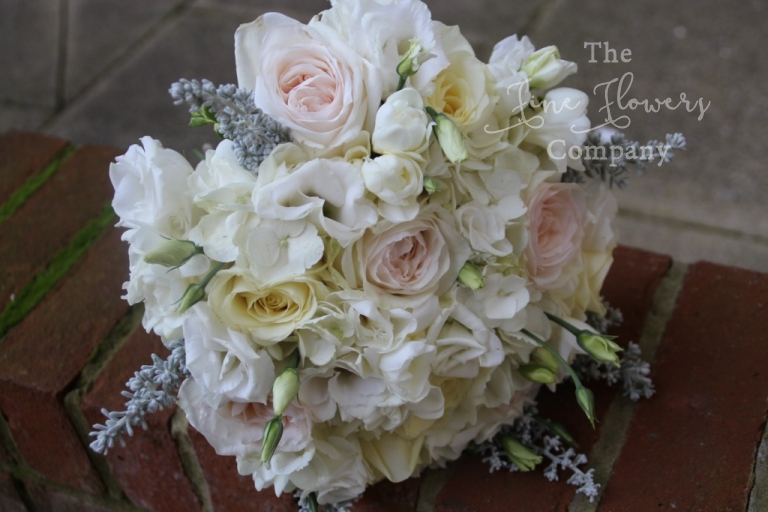 vintage ivory and blush brodal handtied bouquet with hydrangea, O'Hara blush roses, silver springs, wintry bridal bouquet.