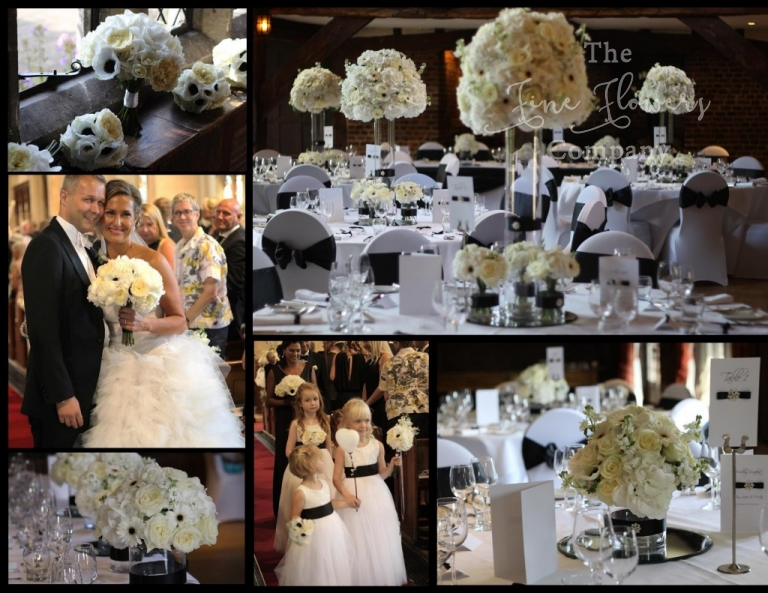 modern luxe designer wedding flowers white & black, roses, hydrangeas and anemones gerberas, back and white theme wedding, Great Fosters modern wedding, designer wedding florist