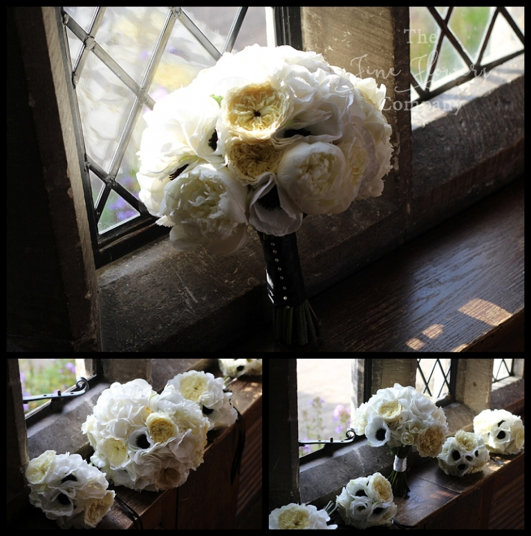 white and black bridal bridesmaids flowers girls bouquets and posies. opulent bridal handtied bouquet of roses, David austin patience roses, hydrangeas and faux anemones.