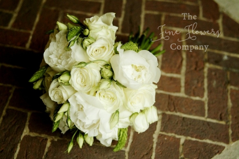 Warren House wedding flowers, Surrey, bridal boquuet of peonies, roses, lisianthus, spray roses, Star of Bethlehem