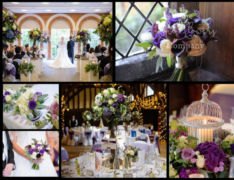 ivory and purple wedding flowers at Great Fosters in Surrey. beautiful ceremony wedding flowers, rustic flower trees centrepieces and candlelit bird cage centrepieces, wedding florist at Great Fosters, Great Fosters wedding photos, Great Fosters purple wedding, rustic barn wedding, surrey wedding flowers, surrey wedding florist