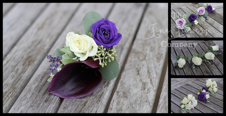 plum and purple buttonholes and corsages, with plum calla lilies, ivory roses and purple lisianthus, lilac roses and purple lisianthus.