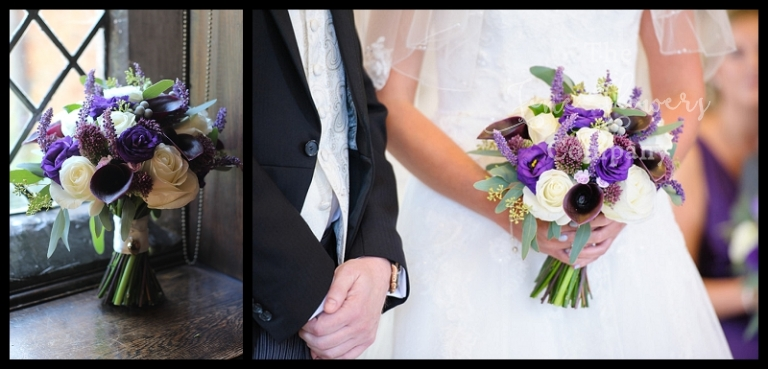 ivory and plum purple bridal handtied bouquet of plum calla lilies, ivory Avalanche roses, purple lisianthus, purple alium and purple muscari, with berried silvery eucalyptus.