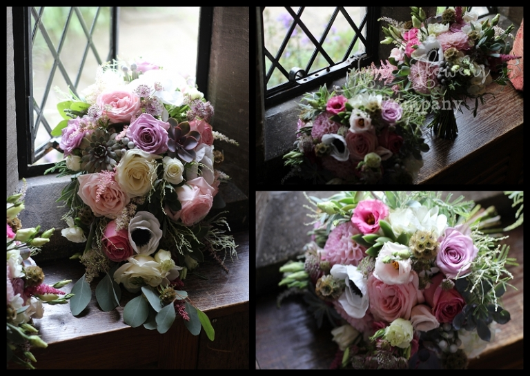 Wild Unstructured Wedding Bouquets Bridal And Bridesmaids Of Roses Astilbe Anemones