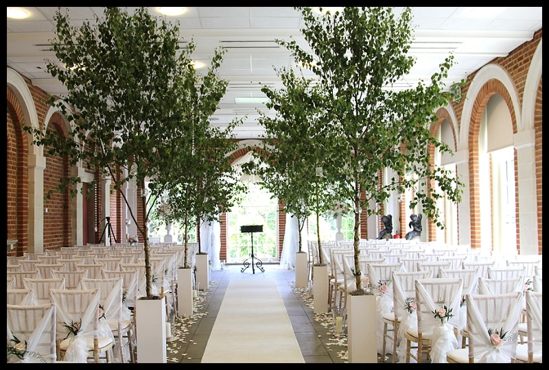 great fosters trees down the aisle. great fosters silver birch trees wedding ceremony. orangery with silver birch trees and chiavali chairs.