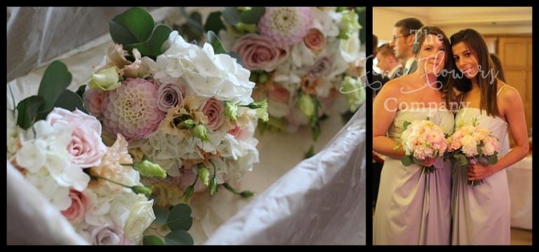 ivory blush nude pink peach bridal bridesmaids bouquet with metha roses, dahlias, hydrangea, sweet avalanche roses.