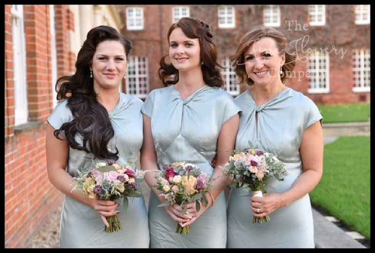 eau de nil tiffany blue wedding bridesmaids dresses. wedding flowers at Wellington college in berkshire.