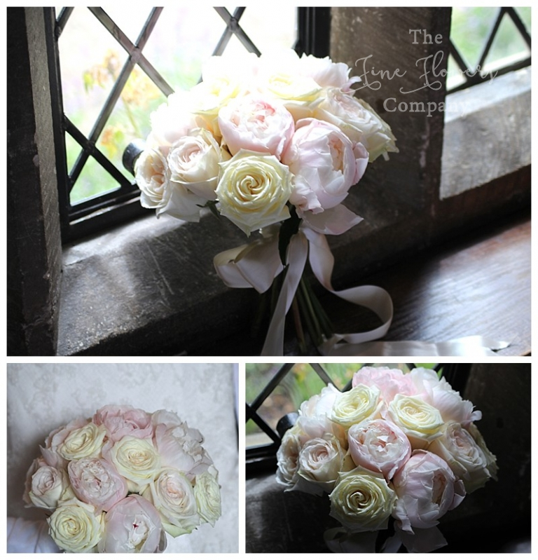 bridal bouquet of ivory roses, pale blush peonies and scented garden O'Hara roses