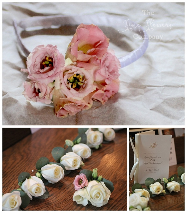 hair flowers, alice band with corsage of blush pink lisianthus.
