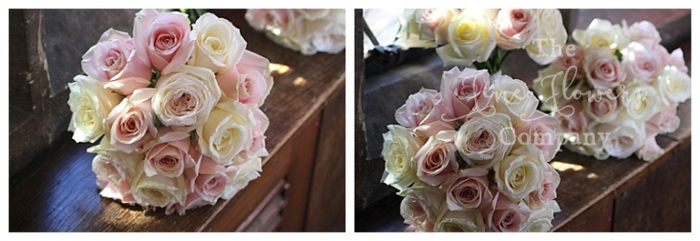 bridesmaids bouquets of ivory and blush pink roses, domed bouquets of just roses.