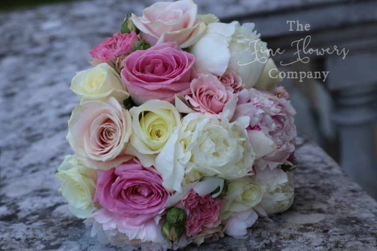Botleys Mansion wedding - pretty bouquet of ivory and pink roses and peonies