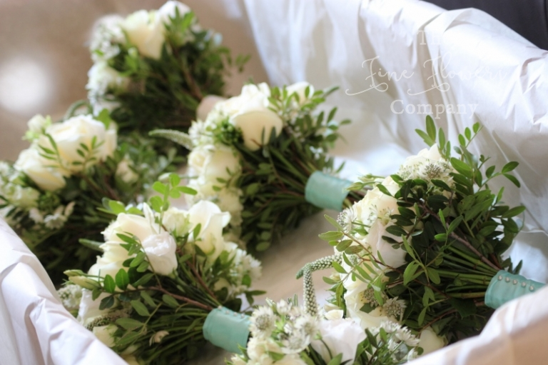 Coworth Park wedding flowers - Bridal flowers bouquets from ivory & Tiffany blue wedding at Coworth Park, Berkshire