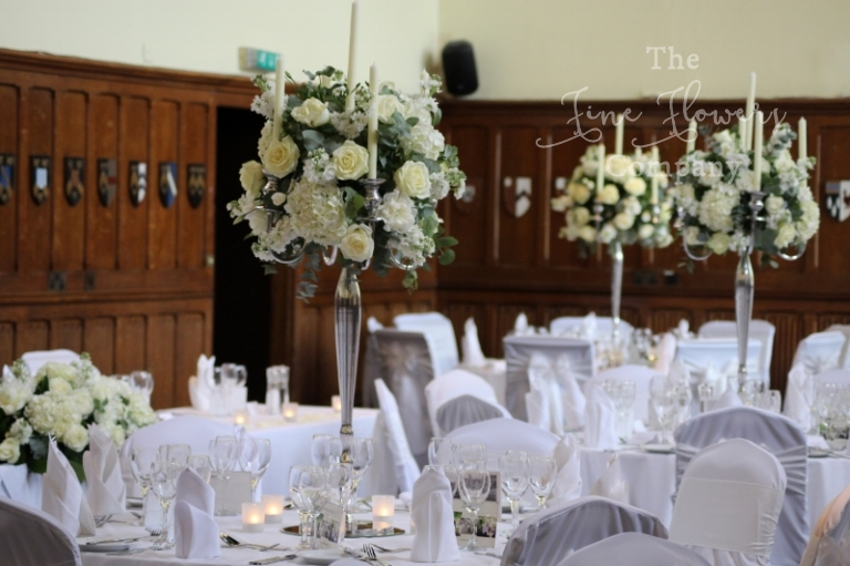 Surrey Wedding Flowers Candelabra Table Centrpiece From Horsley Towers Reception