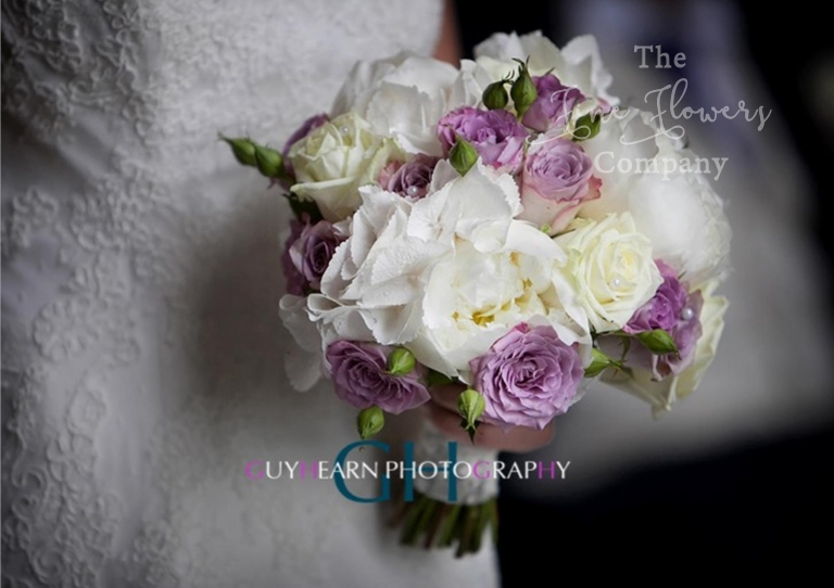 ivory and lilac bridal bouquet roses, paeonies and spray roses, from Cain Manor wedding