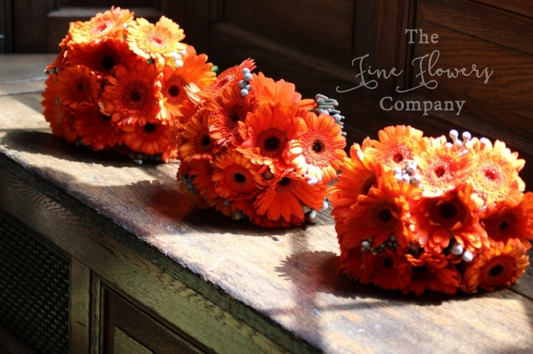 orange gerberas and silver gray brunnia berries bridesmaids bouquets