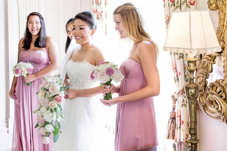 dusky pink wedding flowers from Highclere Castle wedding in Berkshire