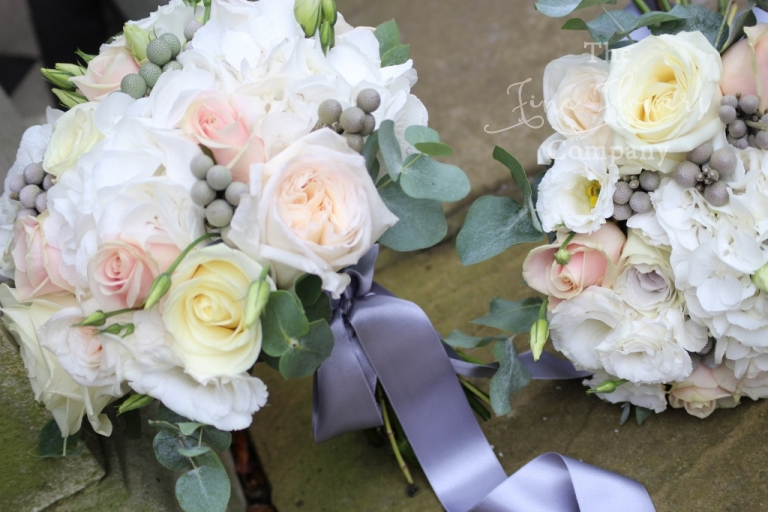 bridal bridesmaids bouquet of ivory, blush pink and silver brunnia berries, from Loseley House wedding