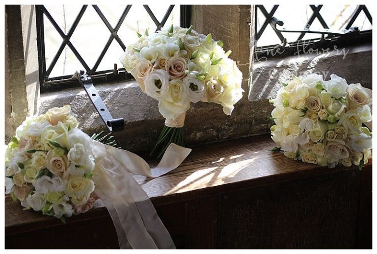 cream bridal and bridesmaids bouquets