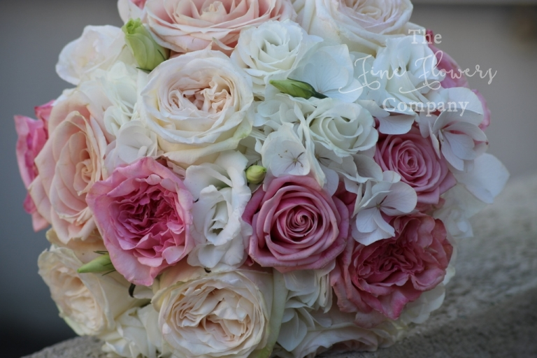 bridal handtied bouquet of white hydrangea, pink and white O'hara roses, Surrey wedding flowers, surrey bridal florist