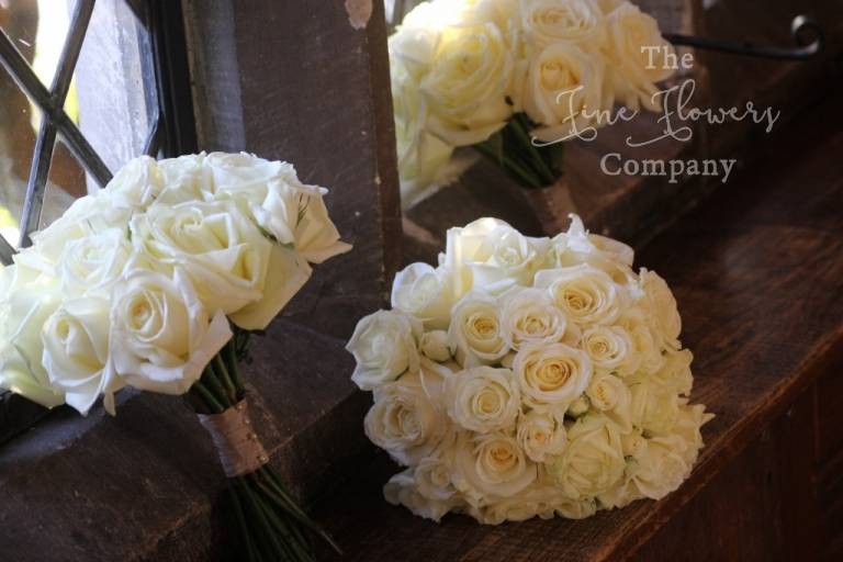 avalanceh roses bridesmaids bouquet - ivory wedding flowers