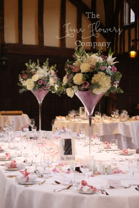 Beautiful ivory and dusky pink wedding flowers at great fosters martini vase centrepiece of ivory hydrangeas and roses dusky pink roses and astrantia mightylinksfo