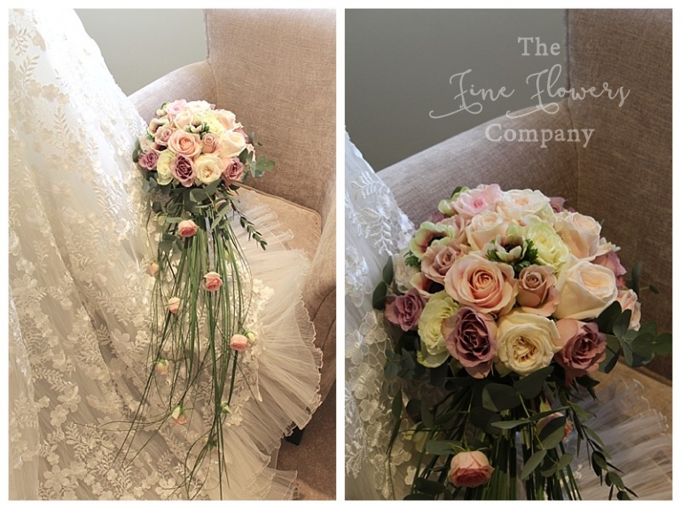 long roses and bear grass trailing bridal bouquet at farnham castle wedding