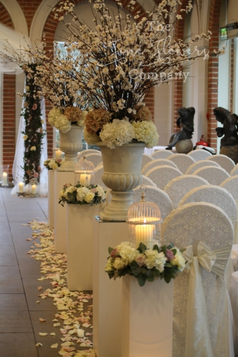 wedding flowers down the aisle, amazing wedding aisle, romantic wedding aisle, aisle with flowers and candles and bird cages