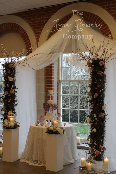 tule canppy chuppah for Jewish wedding ceremony from Great Fosters wedding open day