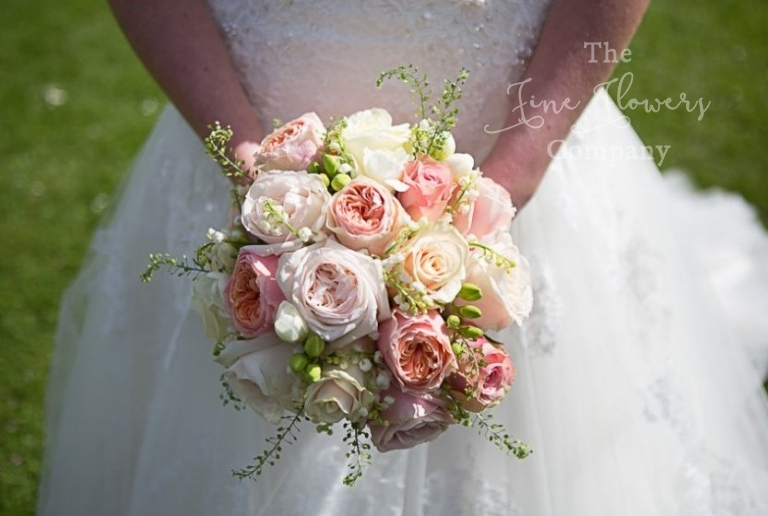 pale blush and pink vintage bridal bouquet Berkshire